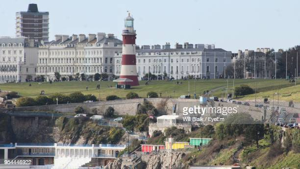 high angle view of buildings in city - plymouth stock photos and pictures