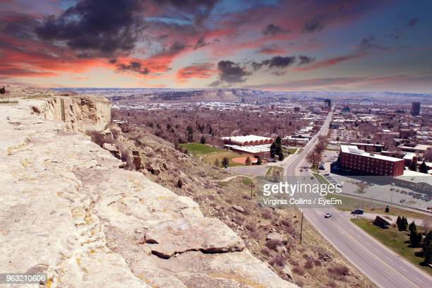 high angle view of buildings in city - billings montana stock pictures, royalty-free photos & images