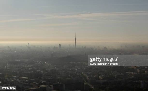 high angle view of buildings in city - smog stock pictures, royalty-free photos & images