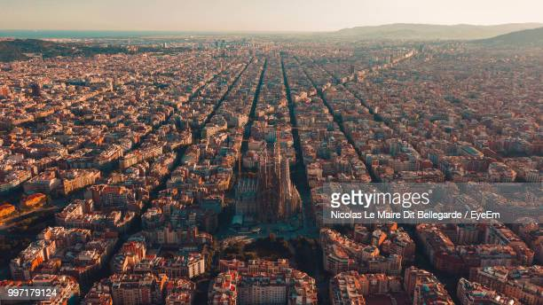 high angle view of buildings in city - barcelona spanien stock-fotos und bilder