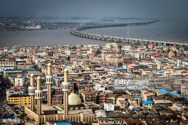 high angle view of buildings in city - lagos nigeria fotografías e imágenes de stock
