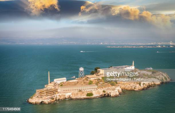 high angle view of buildings in sea - alcatraz island stock pictures, royalty-free photos & images