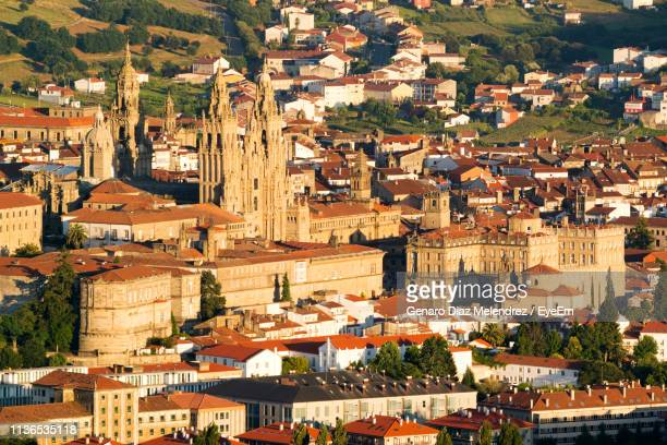 high angle view of buildings in town - santiago de compostela stock pictures, royalty-free photos & images