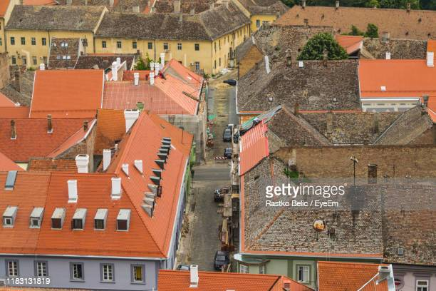 high angle view of buildings in town - serbia stock pictures, royalty-free photos & images