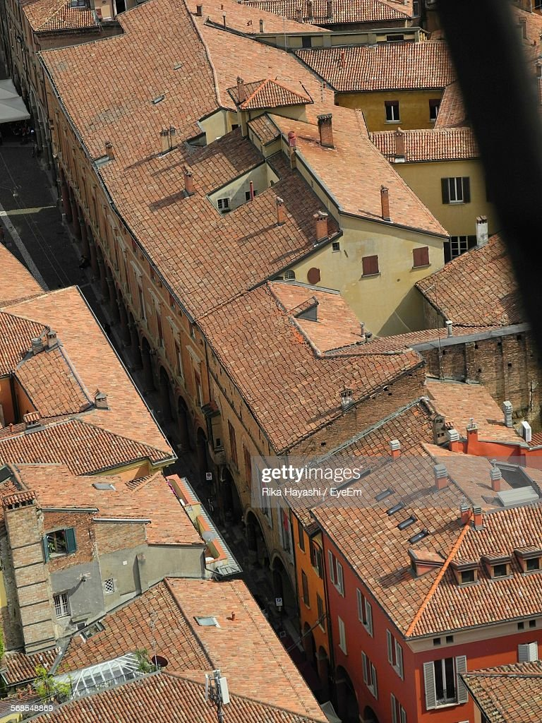 High Angle View Of Buildings In Town : Stock Photo
