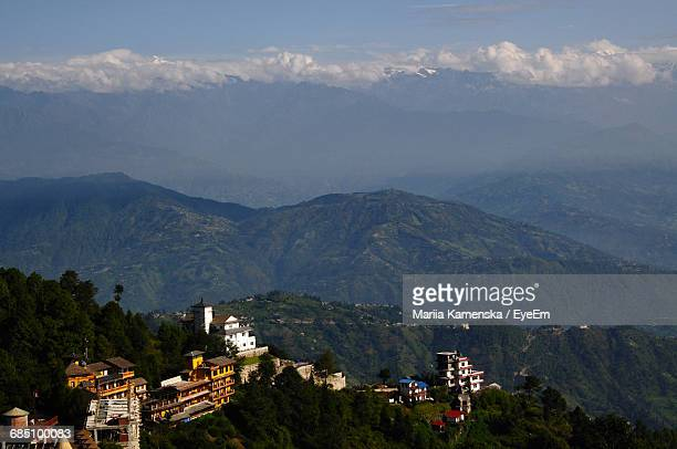 High Angle View Of Buildings On Mountains At Nagarkot