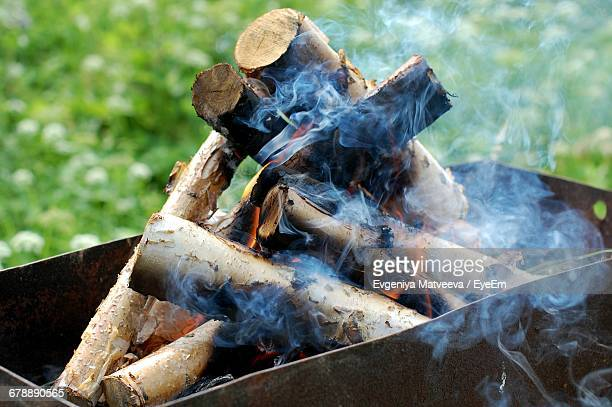 High Angle View Of Burning Firewood In Fire Pit