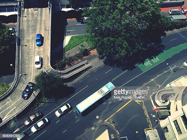 High Angle View Of Bus And Cars On Road In City