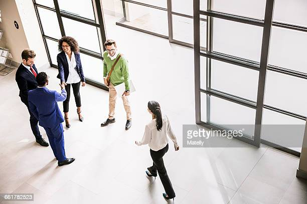 High angle view of businessmen and women greeting each other at office entrance