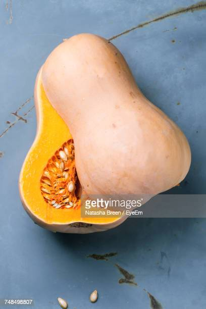 High Angle View Of Butternut Squash On Metallic Table