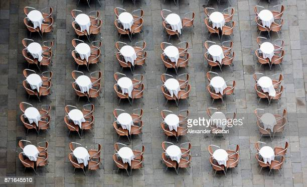 High angle view of cafe tables