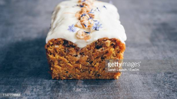 high angle view of cake on table - carrot cake stock pictures, royalty-free photos & images