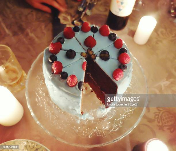 high angle view of cake on table - llorente stock pictures, royalty-free photos & images