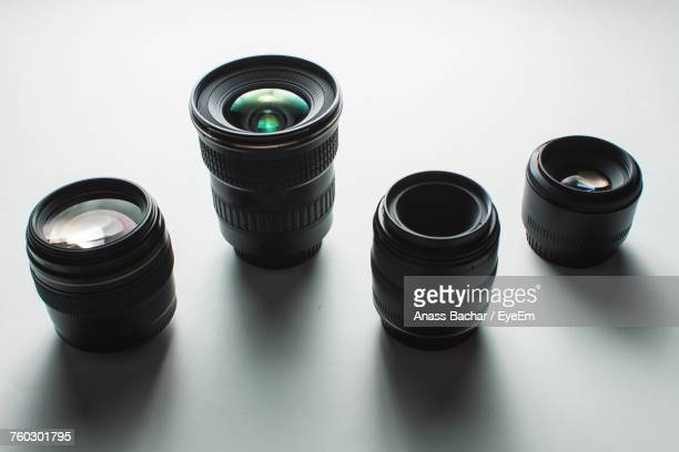 High Angle View Of Camera Lenses