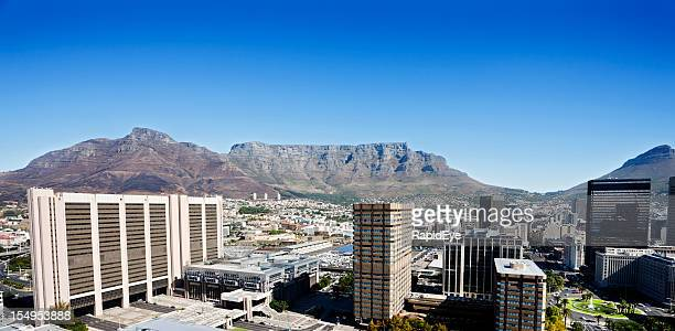 High angle view of Cape Town backed by Table Mountain