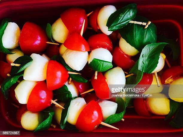 High Angle View Of Caprese Salad Skewer In Box