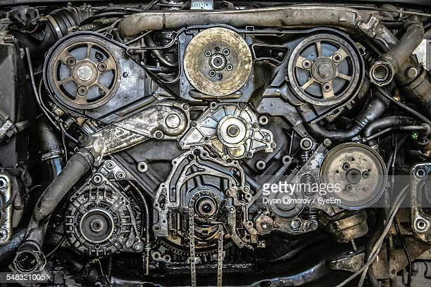 High Angle View Of Car Engine