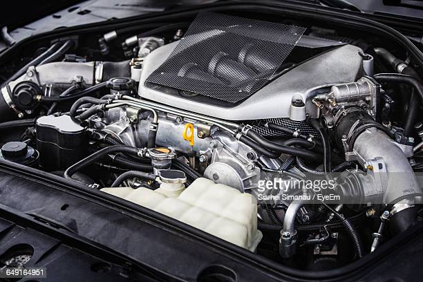high angle view of car engine - engine stock pictures, royalty-free photos & images