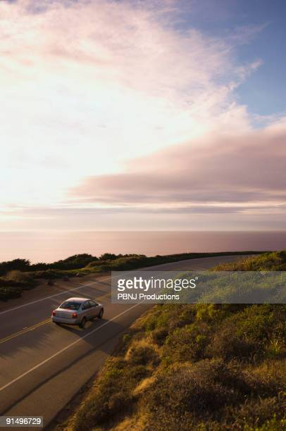 High angle view of car on coastal highway