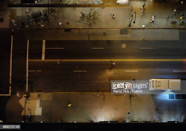 High Angle View Of Car Parked At Illuminated City Street