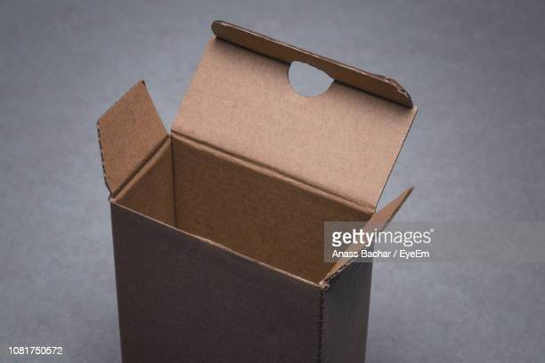 High Angle View Of Cardboard Box On Table