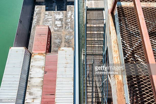 high angle view of cargo containers at port - basel port stock photos and pictures