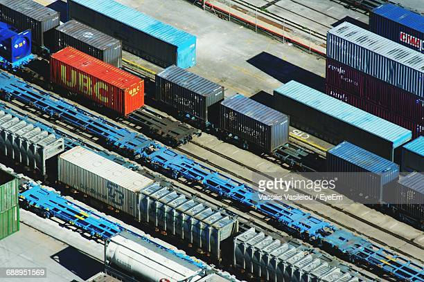 High Angle View Of Cargo Containers At Shunting Yard