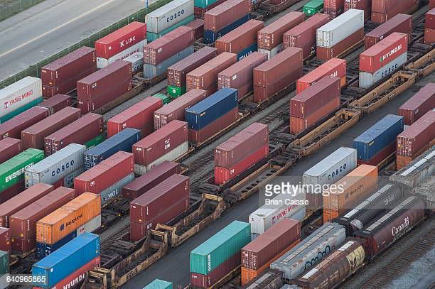 high angle view of cargo containers in shunting yard - shunting yard stock photos and pictures