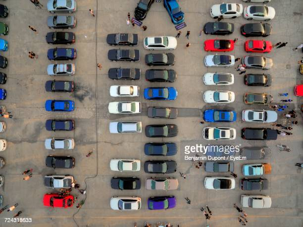 High Angle View Of Cars In A Row