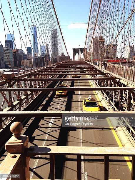 High Angle View Of Cars Moving On Brooklyn Bridge
