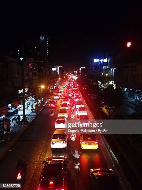High Angle View Of Cars On Illuminated Street At Night