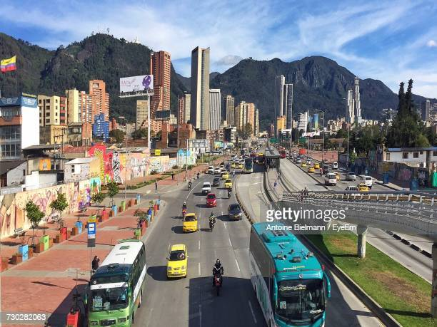 high angle view of cars on road in city - bogota stock pictures, royalty-free photos & images