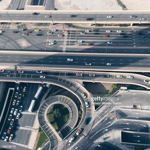 High Angle View Of Cars On Road