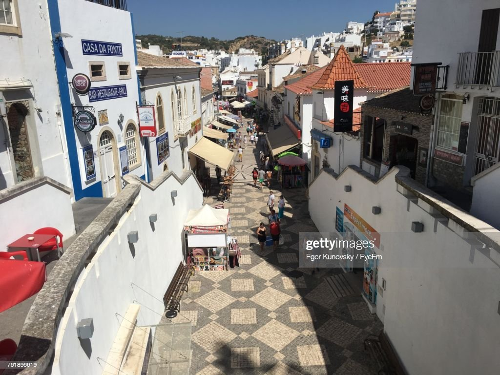 High Angle View Of Cars On Street : Stock Photo
