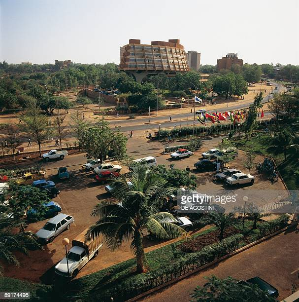 High angle view of cars parked by the road Niamey Niger