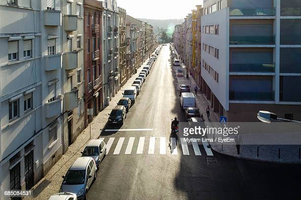 High Angle View Of Cars Parked On Street In City