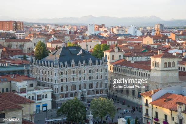 High angle view of Casa Botines and Palacio de los Guzmanes, Leon, Castile and Leon, Spain