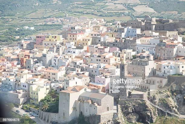 High angle view of Castelsardo, Sardinia, Italy