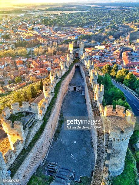 high angle view of castle in spain - valladolid spanish city stock pictures, royalty-free photos & images