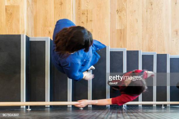 High Angle View of Casually Dressed Business People on Stairs