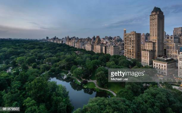 high angle view of central park - new york - central park stock pictures, royalty-free photos & images