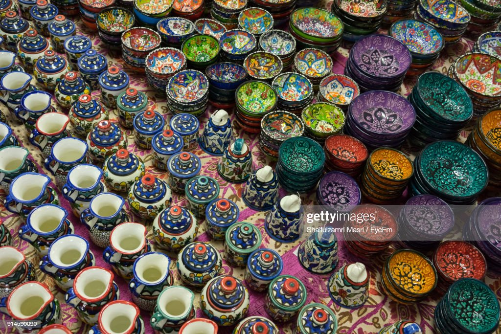 High Angle View Of Ceramics For Sale At Street Market : Stock Photo