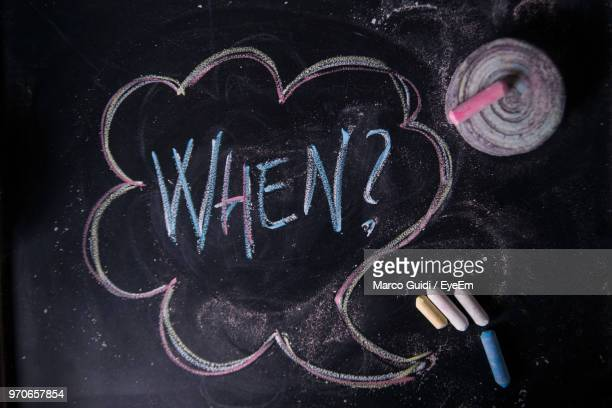 High Angle View Of Chalk Drawing On Blackboard