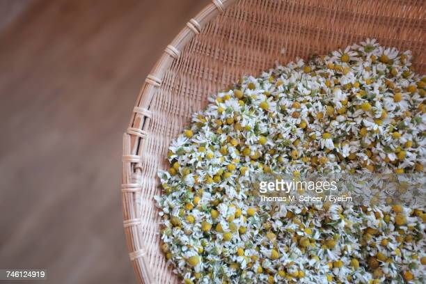 high angle view of chamomiles in wicker bowl - chamomile tea stock photos and pictures