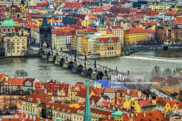 High Angle View Of Charles Bridge Over Vltava River In City