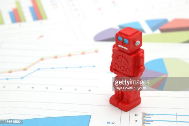 High Angle View Of Chatbot Figurine On Financial Documents
