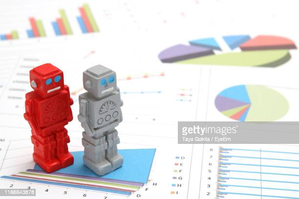 High Angle View Of Chatbot Figurines On Financial Documents