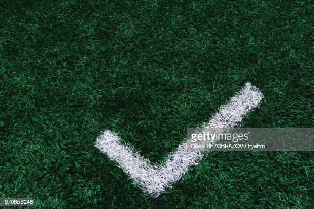 High Angle View Of Check Mark Sign On Grass