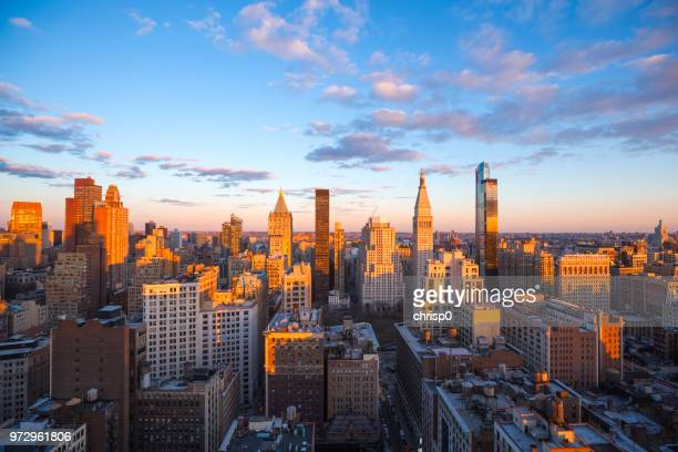 high angle view of chelsea, manhattan at sunset - chelsea new york stock pictures, royalty-free photos & images