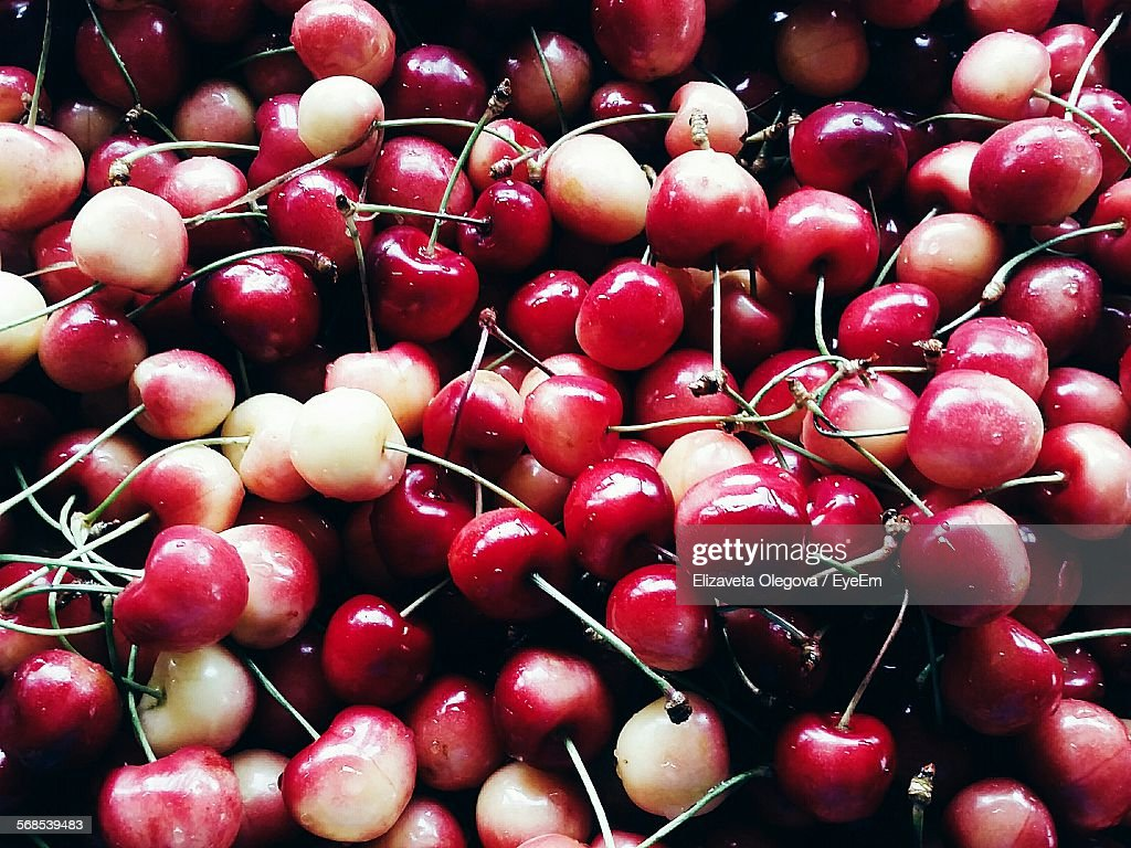 High Angle View Of Cherries : Stock Photo
